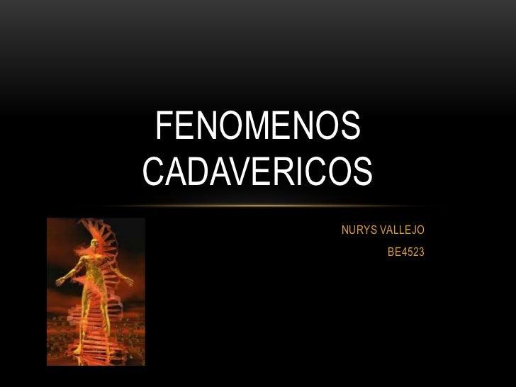 FENOMENOSCADAVERICOS         NURYS VALLEJO                BE4523
