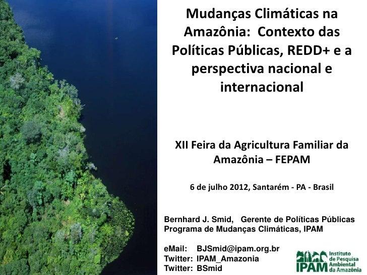 Mudanças Climáticas na   Amazônia: Contexto das Políticas Públicas, REDD+ e a    perspectiva nacional e         internacio...