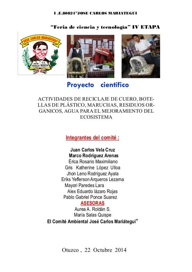 Proyecto científicoACTIVIDADES DE RECICLAJE DE CUERO, BOTE-LLAS DE