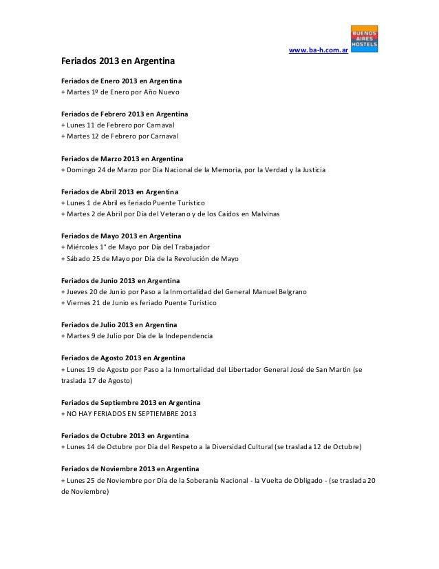 Feriados 2013 en Argentina | www.ba-h.com.ar