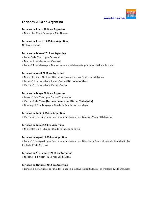 Feriados 2014 en Argentina | www.ba-h.com.ar