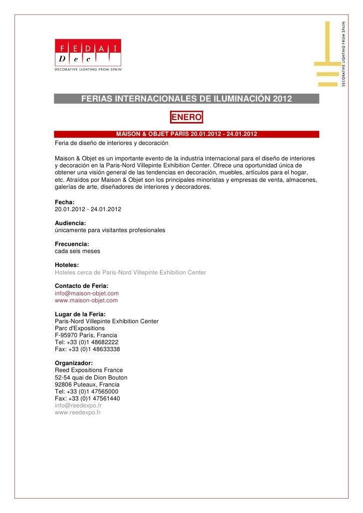 FERIAS INTERNACIONALES DE ILUMINACIÓN 2012                                           ENERO                       MAISON & ...