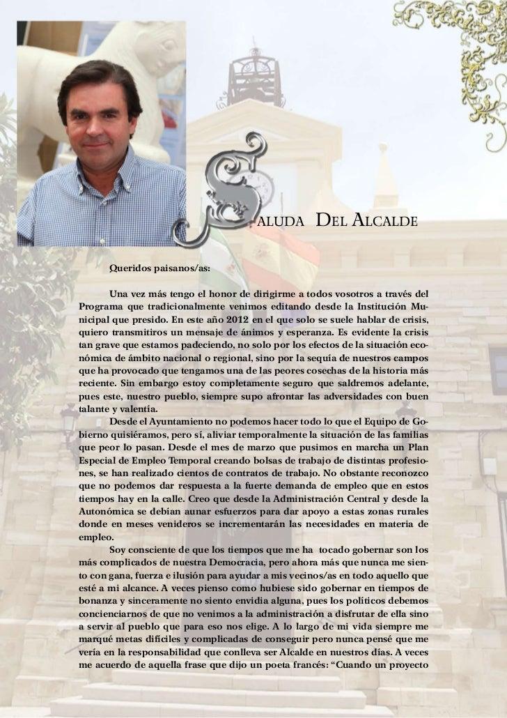 Porcuna 2012                                            aluda        Del Alcalde          Queridos paisanos/as:        ...