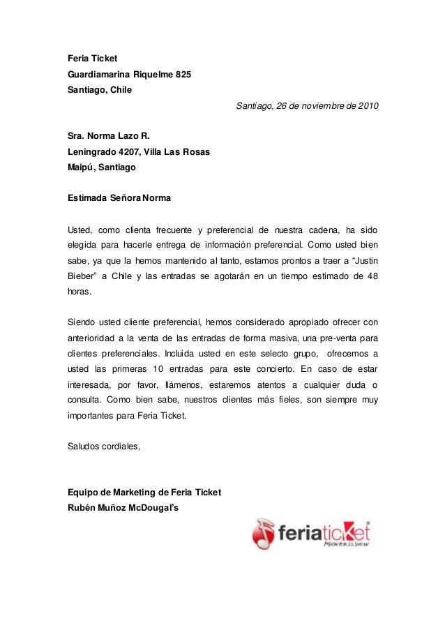 Feria Ticket Guardiamarina Riquelme 825 Santiago, Chile Santiago, 26 de noviembre de 2010 Sra. Norma Lazo R. Leningrado 42...