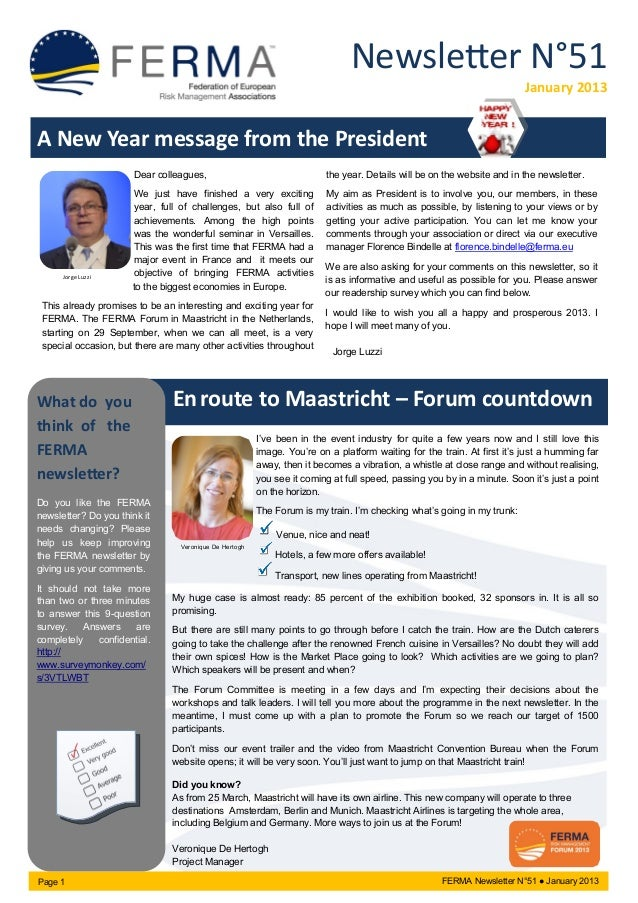 Newsletter N°51 January 2013 A New Year message from the President Dear colleagues, We just have finished a very exciting ...