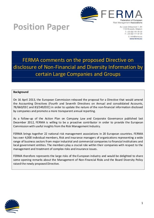 Ferma Position Paper on the Directive on Disclosing Risks & Board Diversity