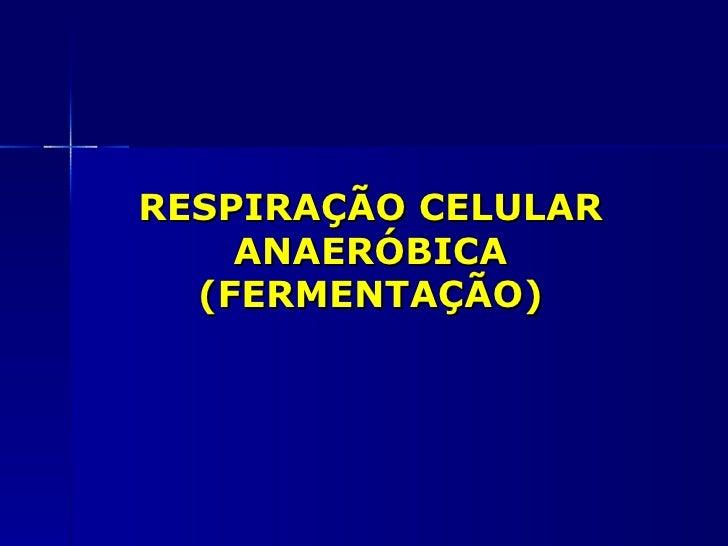 RESPIRAÇÃO CELULAR    ANAERÓBICA  (FERMENTAÇÃO)