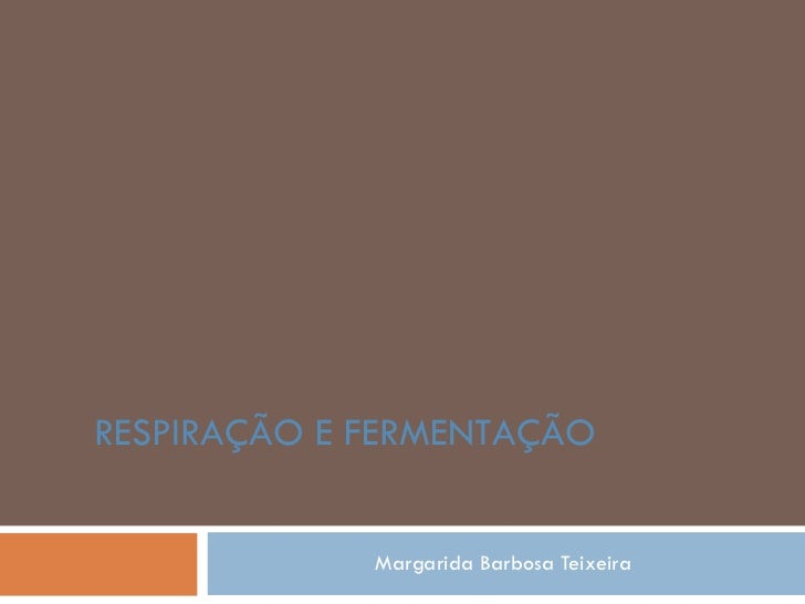 Margarida Barbosa Teixeira RESPIRAÇÃO E FERMENTAÇÃO