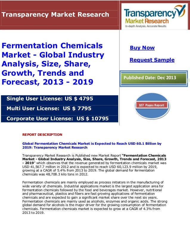Transparency Market Research  Fermentation Chemicals Market - Global Industry Analysis, Size, Share, Growth, Trends and Fo...