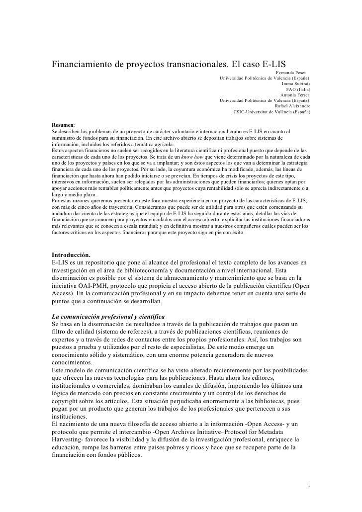 Financiamiento de proyectos transnacionales. El caso E-LIS                                                                ...