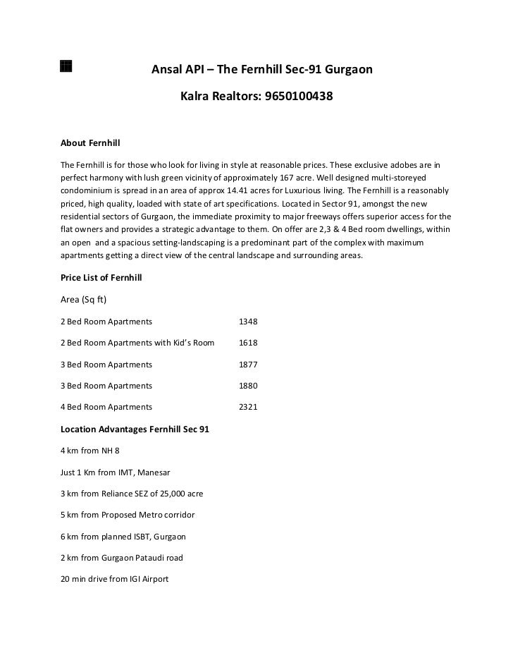ansal fernhill gurgaon 9650100438 ansal fernhill gurgaon price