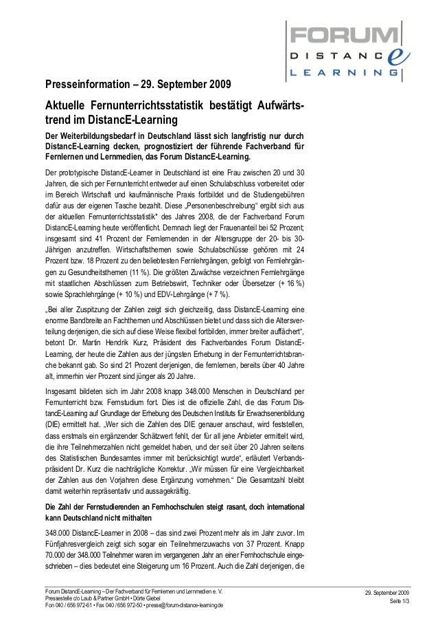 Presseinformation – 29. September 2009 Forum DistancE-Learning – Der Fachverband für Fernlernen und Lernmedien e. V. Press...