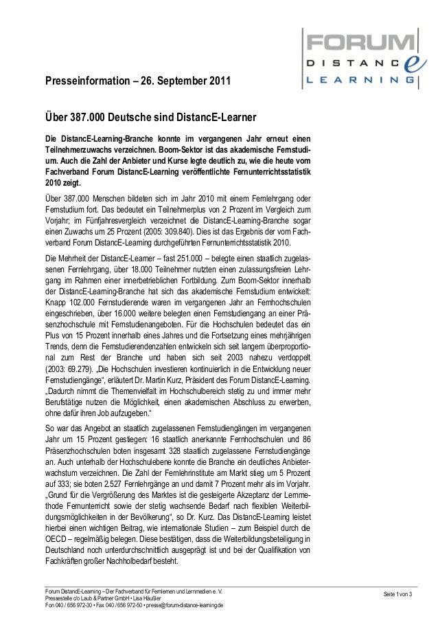 Presseinformation – 26. September 2011 Forum DistancE-Learning – Der Fachverband für Fernlernen und Lernmedien e. V. Press...