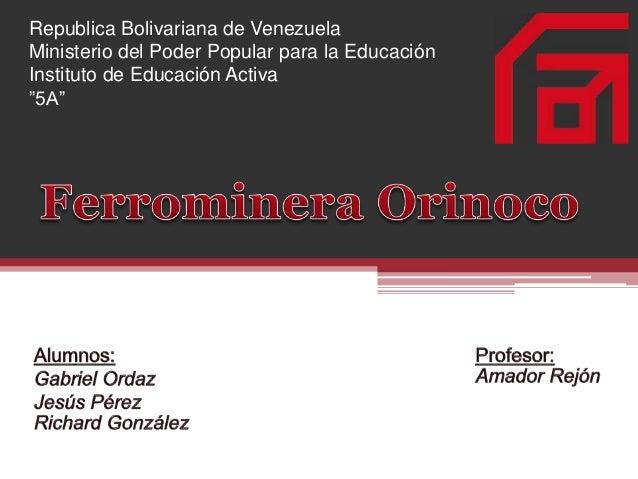"""Republica Bolivariana de Venezuela Ministerio del Poder Popular para la Educación Instituto de Educación Activa """"5A"""""""