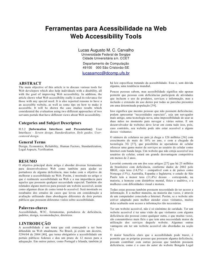 Ferramentas para Acessibilidade na Web                             Web Accessibility Tools                                ...