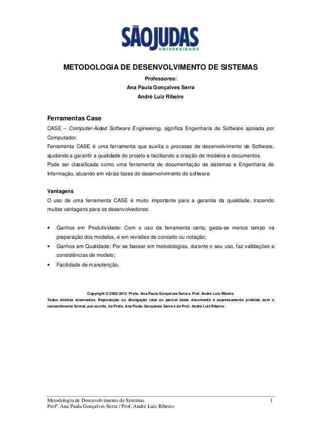 Metodologia de Desenvolvimento de Sistemas 1 Profª. Ana Paula Gonçalves Serra / Prof. André Luiz Ribeiro METODOLOGIA DE DE...