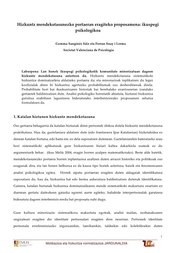 Hizkuntz mendekotasunezko portaeran eragiteko proposamena: ikuspegi                             psikologikoa              ...