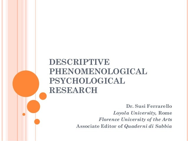 Ferrarello (2013) phenomenological philosophy -an introduction for psychologists