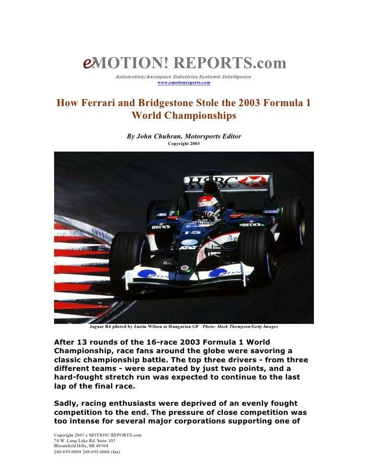 How Ferrari and Bridgestone Stole the 2003 F1 World Championship
