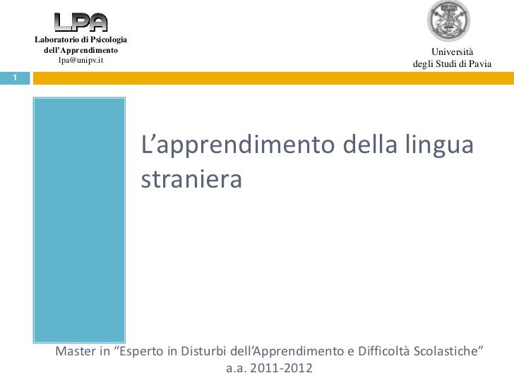 Laboratorio di Psicologia      dell'Apprendimento                                                   Università           l...