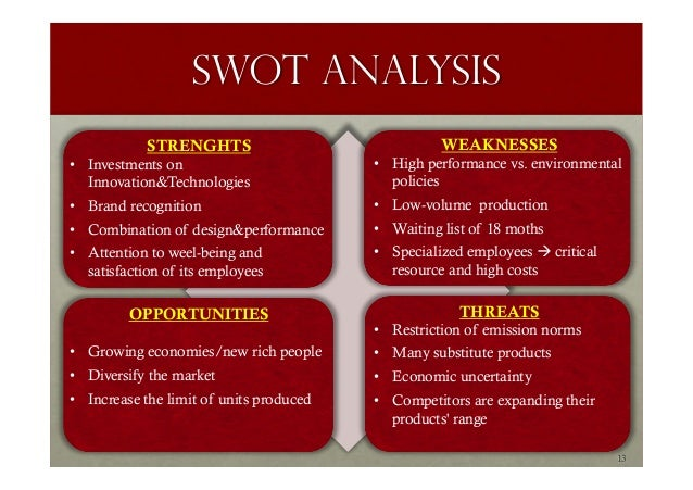 fiat swot Fiat • competitors • consumers • collaborators • climate • swot 3 4 3 positioning statement • target segment • differentiation 14 4 sales objectives 5.