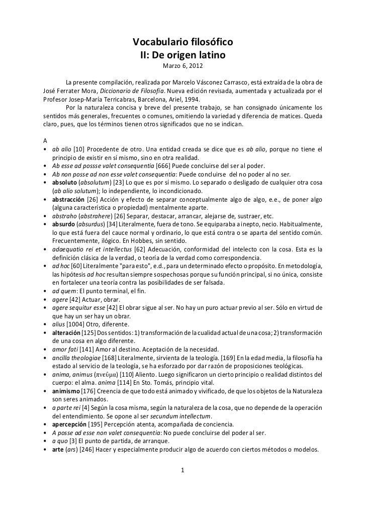 Vocabulario filosófico                                  II: De origen latino                                             M...