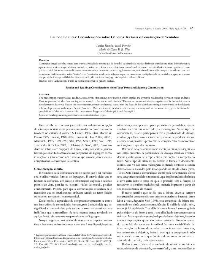 Psicologia: Reflexão e Crítica, 2005, 18(3), pp.323-329   323                Leitor e Leituras: Considerações sobre Gênero...