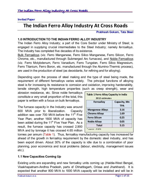 The Indian Ferroalloy Industry At Cross Roads
