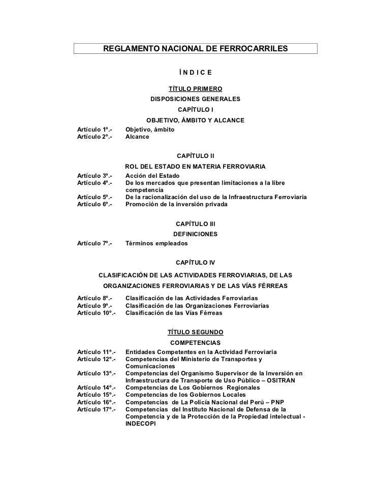 REGLAMENTO NACIONAL DE FERROCARRILES                                   ÍNDICE                                TÍTULO PRIMER...