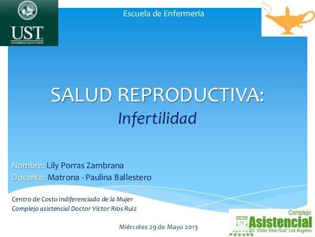 SALUD REPRODUCTIVA: Infertilidad Nombre: Lily Porras Zambrana Docente: Matrona - Paulina Ballestero Centro de Costo indife...