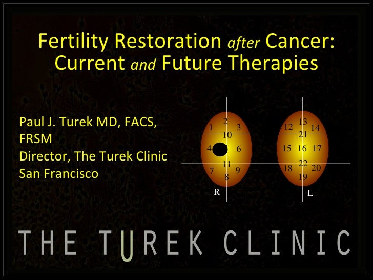 Fertility Restoration after Cancer: Current and Future Therapies  By Paul J. Turek MD, FACS, FRSM Director, The Turek Clinic, San Francisco (WARNING: Images in slides not appropriate for all audiences due to subject matter)