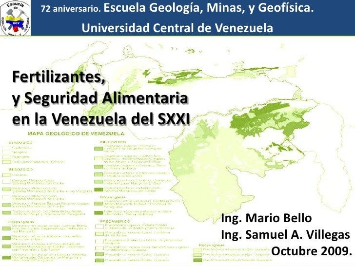72 aniversario. Escuela                       Geología, Minas, y Geofísica.            Universidad Central de Venezuela   ...