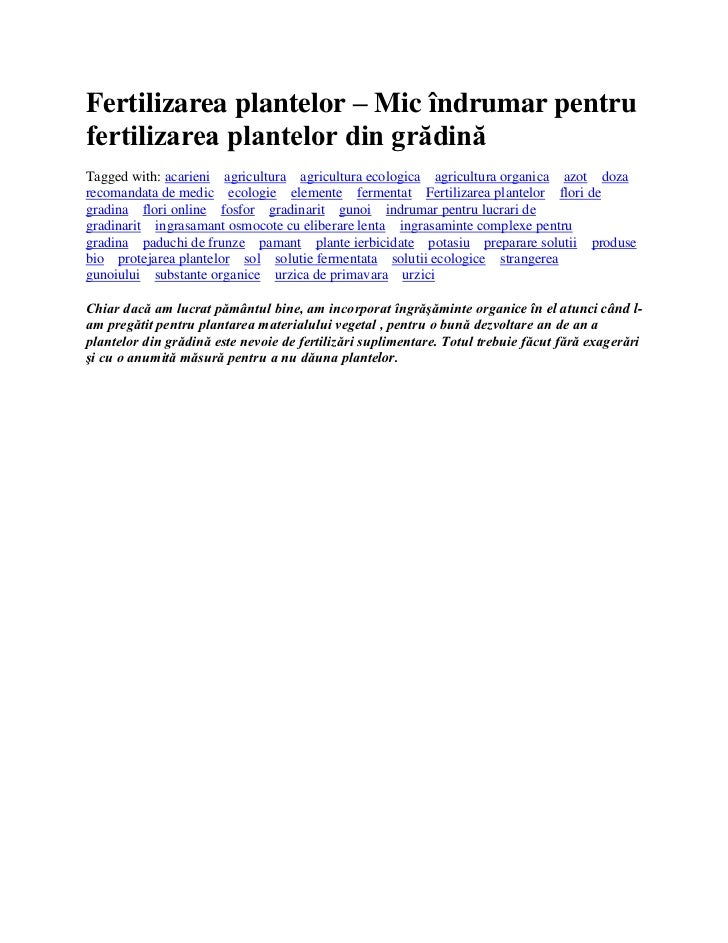 Fertilizarea plantelor