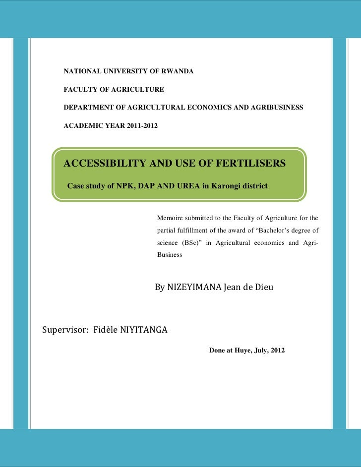 i    NATIONAL UNIVERSITY OF RWANDA    FACULTY OF AGRICULTURE    DEPARTMENT OF AGRICULTURAL ECONOMICS AND AGRIBUSINESS    A...