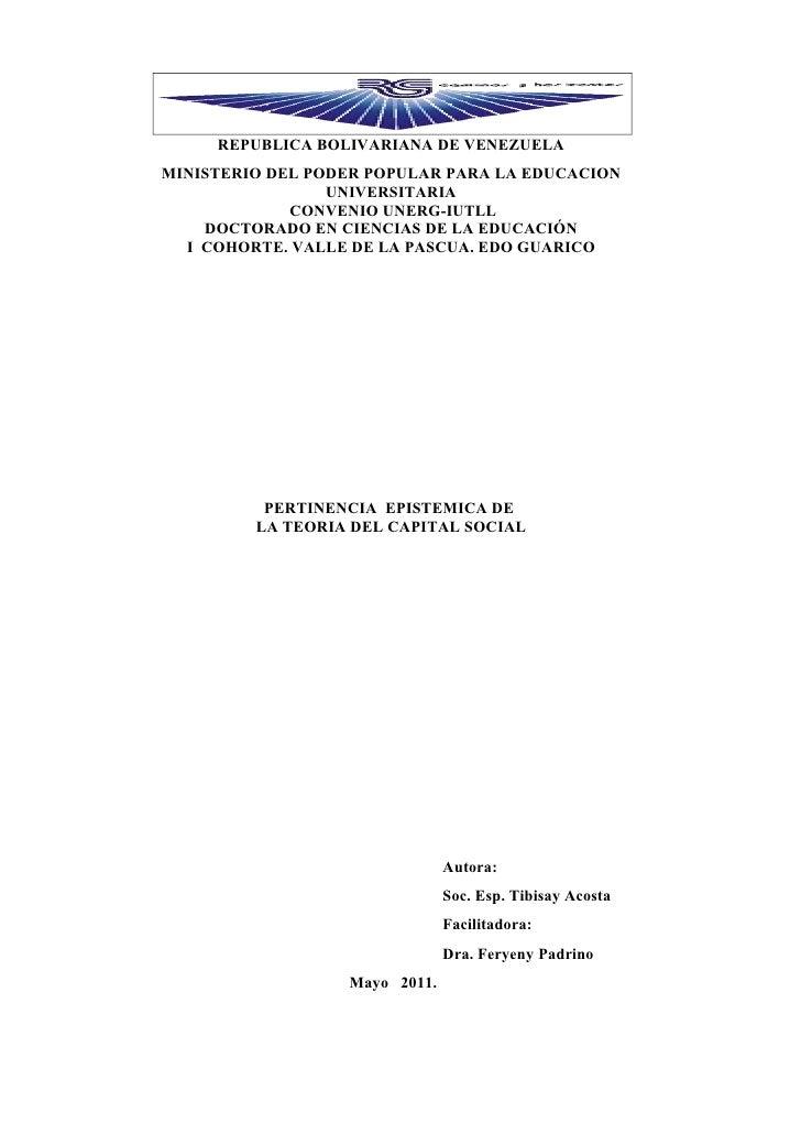 REPUBLICA BOLIVARIANA DE VENEZUELAMINISTERIO DEL PODER POPULAR PARA LA EDUCACION                 UNIVERSITARIA            ...