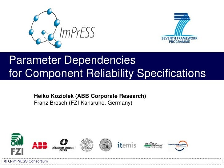 Parameter Dependencies for Component Reliability Specifications