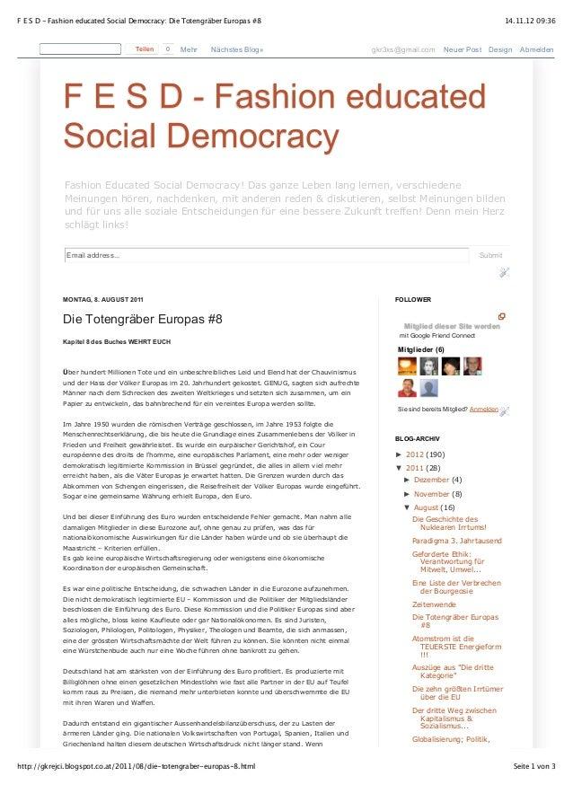 F E S D - Fashion educated Social Democracy: Die Totengräber Europas #8                                                   ...