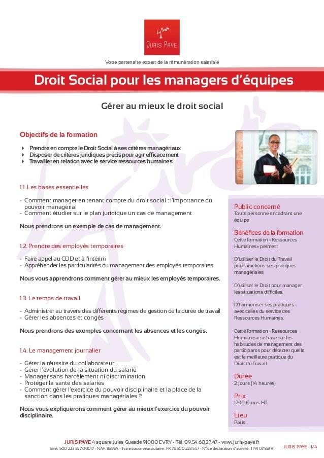 Votre partenaire expert de la rémunération salariale  Droit Social pour les managers d'équipes  Gérer au mieux le droit so...