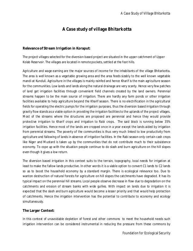 A Case Study of Villlage Bhitarkotta                               A Case study of village BhitarkottaRelevance of Stream ...