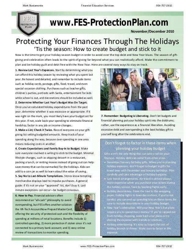 www.FES-ProtectionPlan.com        November/December2010 'Tistheseason:Howtocreatebudgetandstickto...