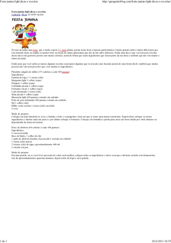 Festa junina light dicas e receitas                                                                  http://guiagratisblog...
