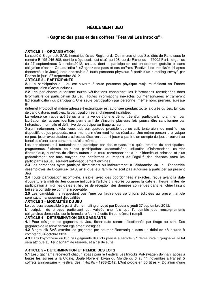 """RÉGLEMENT JEU              «Gagnez des pass et des coffrets """"Festival Les Inrocks""""»ARTICLE 1 – ORGANISATIONLa société Blog..."""