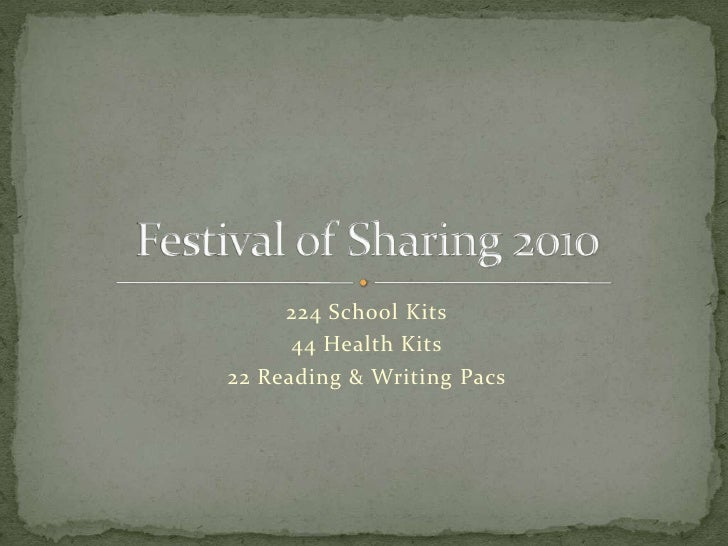 224 School Kits<br />44 Health Kits<br />22 Reading & Writing Pacs<br />Festival of Sharing 2010<br />