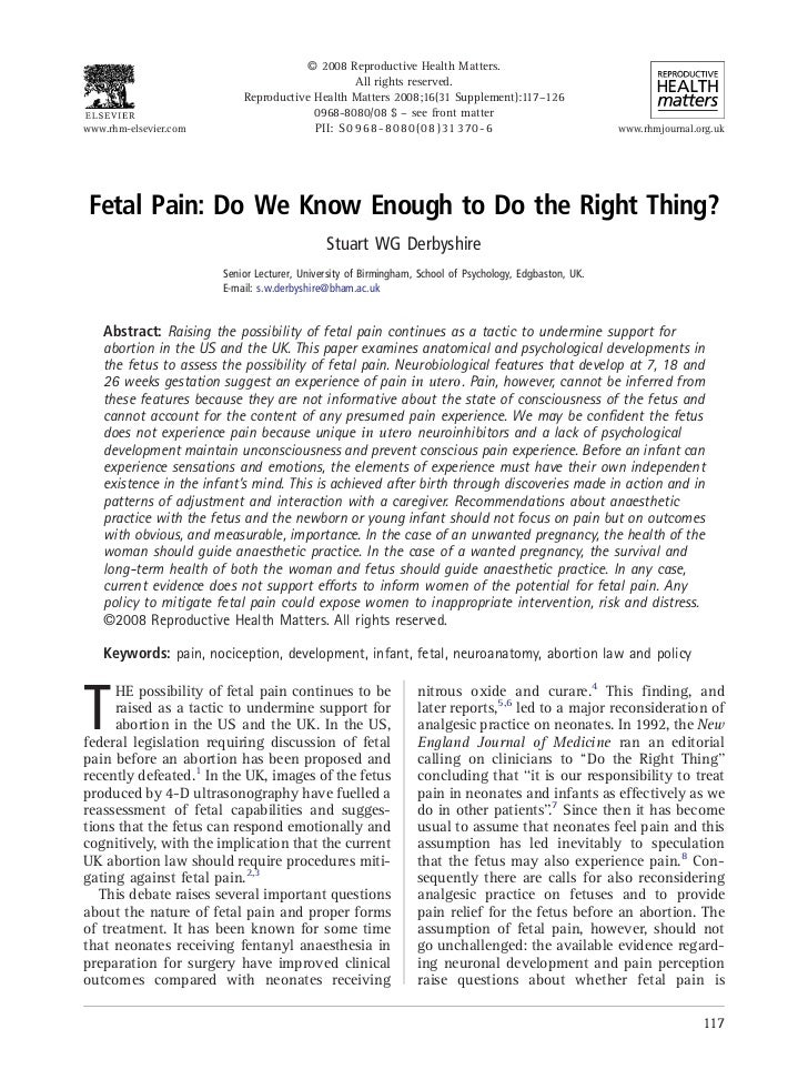 Fetal pain do we know enough to do the right thing