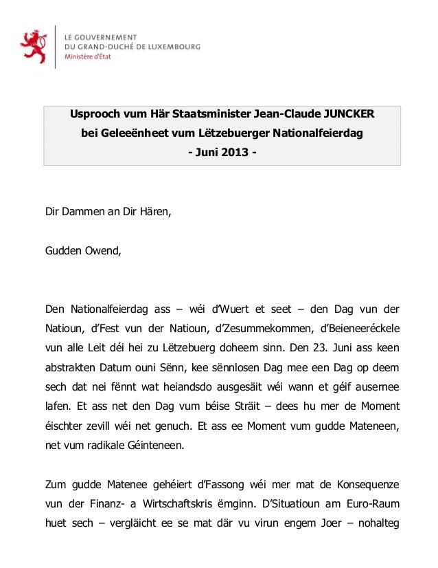 Usprooch vum Här Staatsminister Jean-Claude JUNCKERbei Geleeënheet vum Lëtzebuerger Nationalfeierdag- Juni 2013 -Dir Damme...