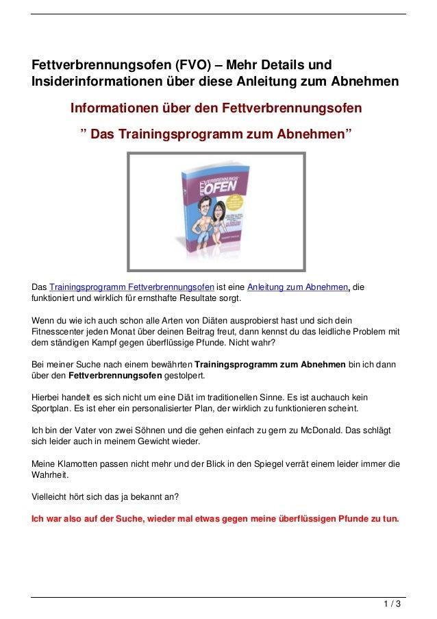Fettverbrennungsofen (FVO) – Mehr Details und Insiderinformationen über diese Anleitung zum Abnehmen