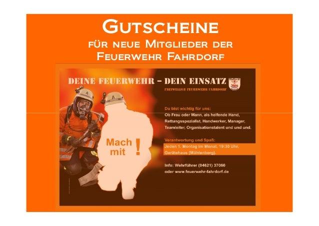 Gutscheinefür neue Mitglieder derFeuerwehr Fahrdorf