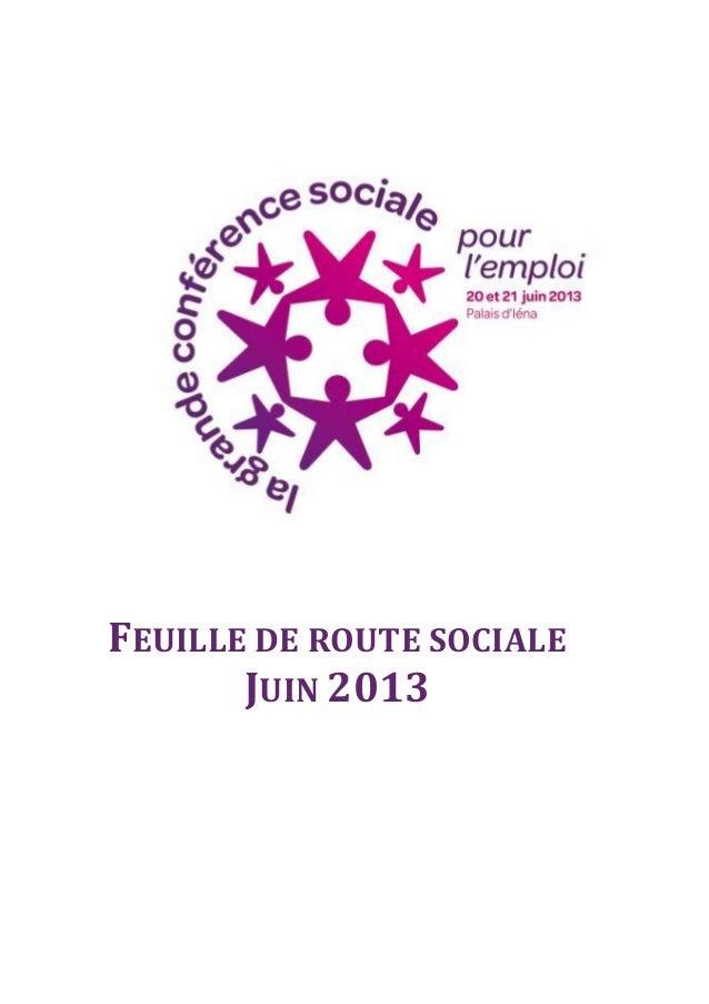 FEUILLE DE ROUTE SOCIALE JUIN 2013
