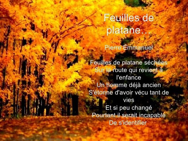 Feuilles de platane… Pierre Emmanuel  Feuilles de platane séchées Sur la route qui revient à l'enfance Un homme déjà anci...
