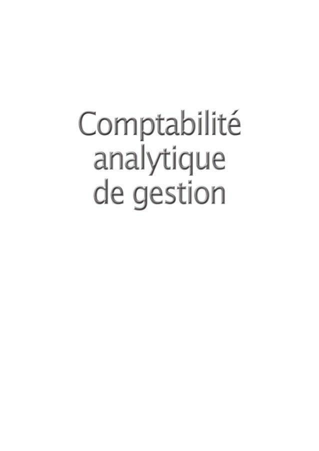 Comptabilité analytique de gestion
